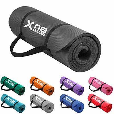 XN8 Padded Exercise Yoga Mat-NBR 15mm Thick with Carry Handle Strap for Pilates-Exercise-Aerobic-Gymnastics-home exercises-fitness-Camping-Gym-Non Slip Large Black